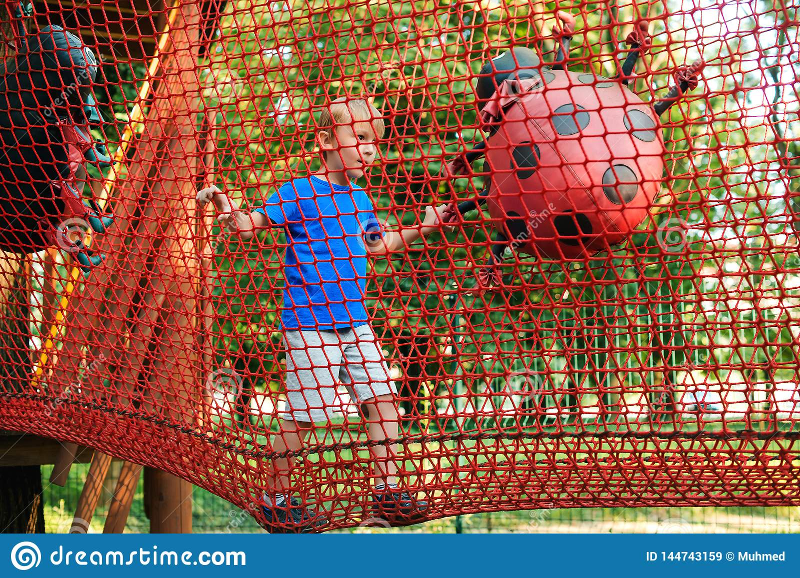 Happy boy overcomes obstacles in rope adventure park. Summer holidays concept. Cute kid playing at rope adventure park. Amusement