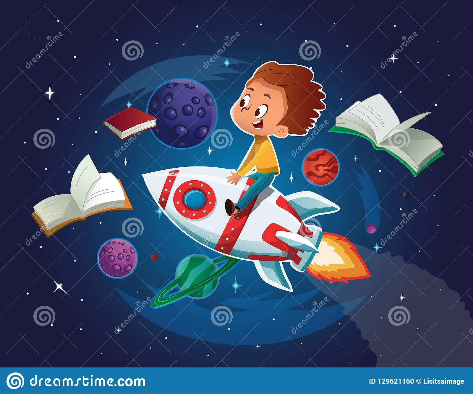 Happy Boy playing and imagine himself in space driving an toy space rocket. Books, planets, rocket and stars in a