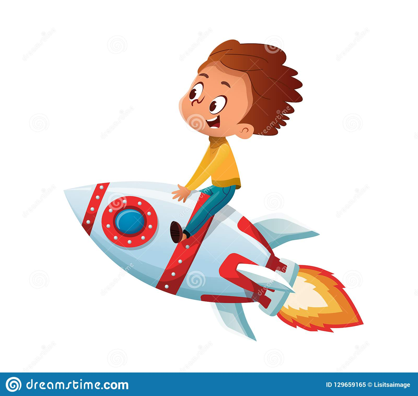 Happy Boy playing and imagine himself in space driving an toy space rocket. Vector cartoon illustration. Isolated