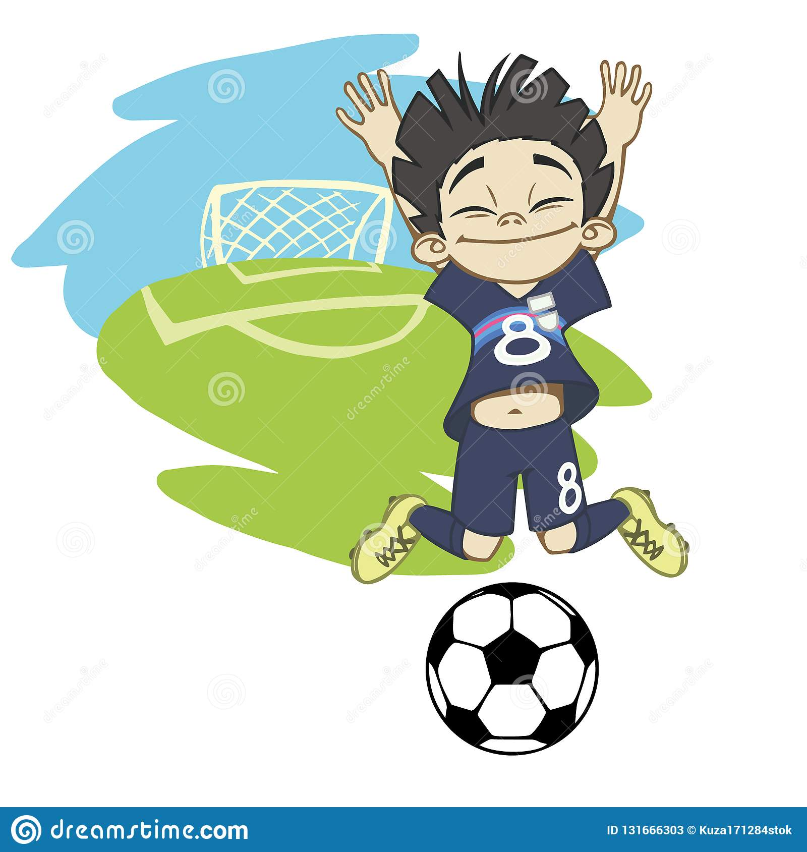A Cartoon Soccer Player Is Playing Ball In A Stadium In