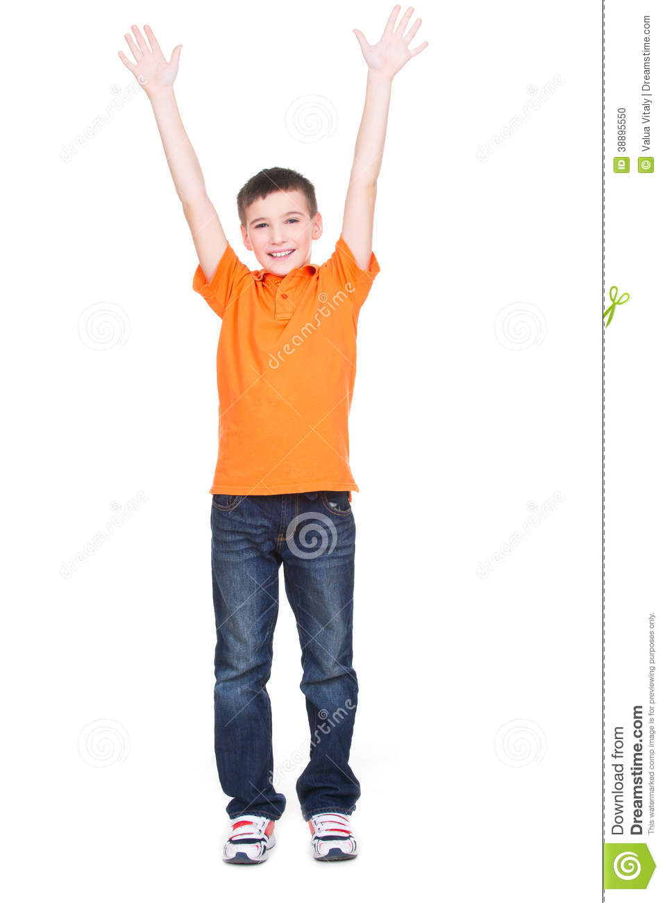 Happy Boy With Raised Hands Up. Stock Photo - Image: 38895550