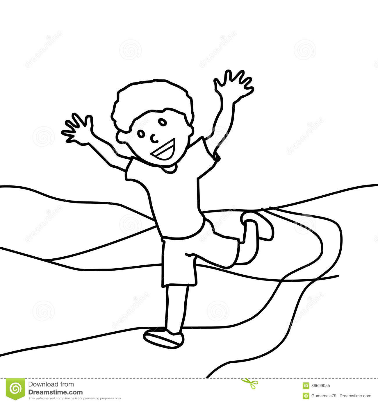 Happy Boy Running Coloring Page