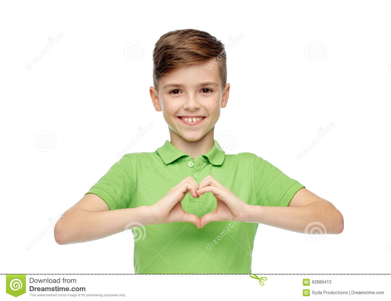 Happy Boy Showing Heart Hand Sign Stock Image - Image of copyspace ...