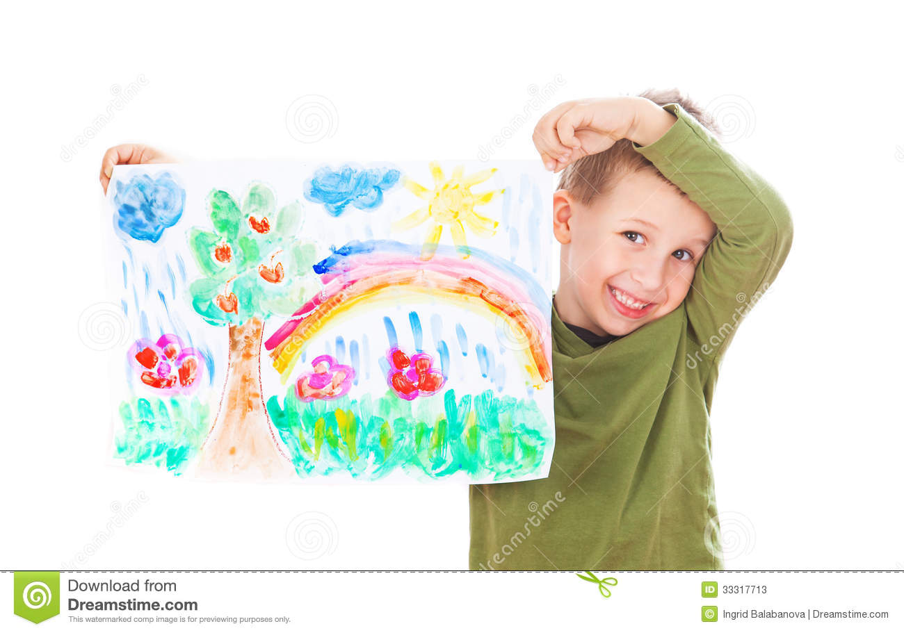 Happy boy showing his painting