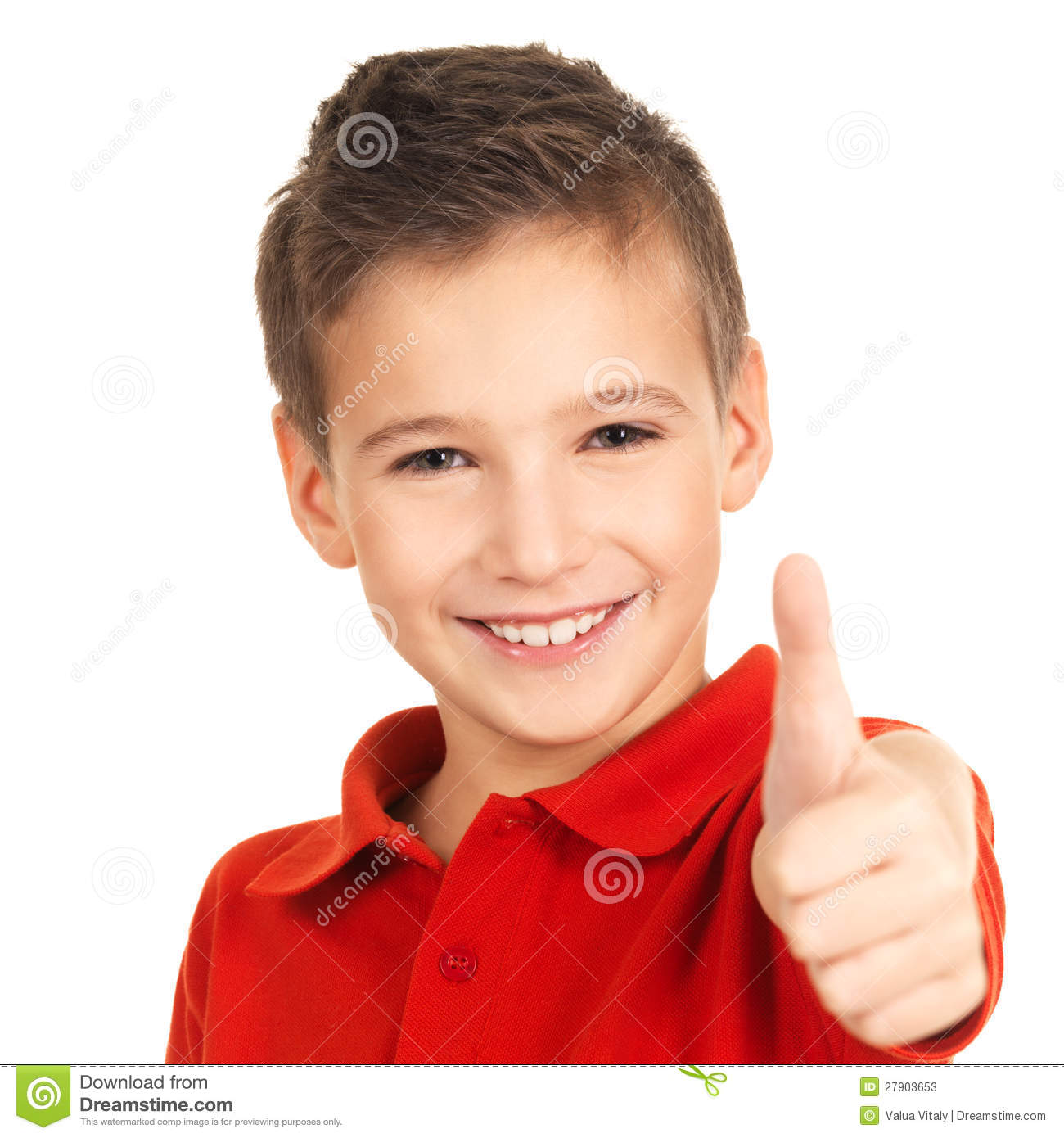 Happy Boy Showing Thumbs Up Gesture Stock Image - Image of ...