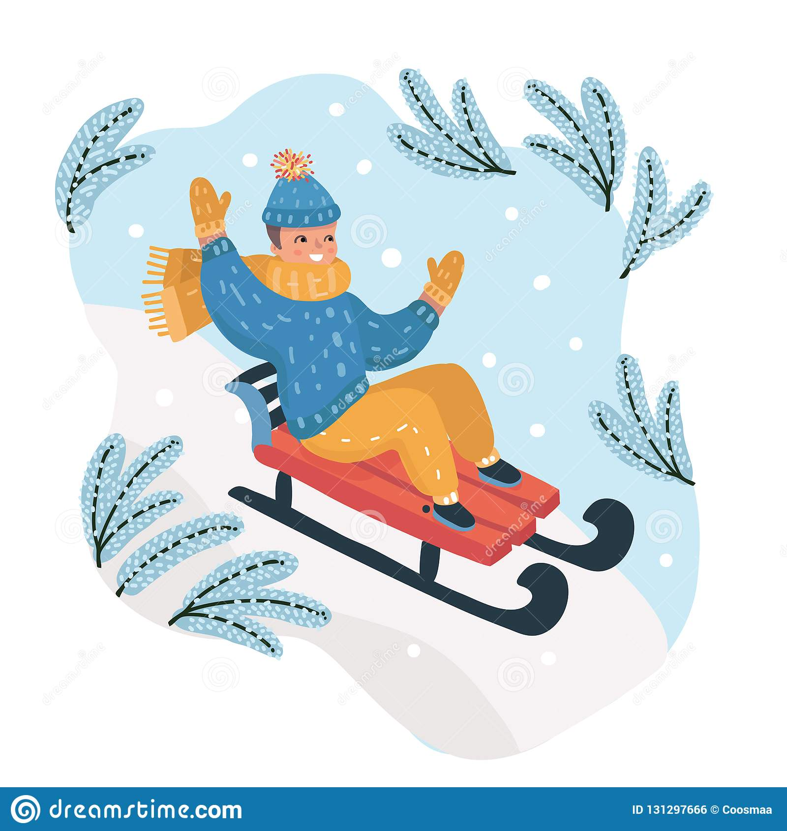 Happy Boy Sledding Down The Hill On The Snow Stock Vector Illustration Of Merry Color 131297666