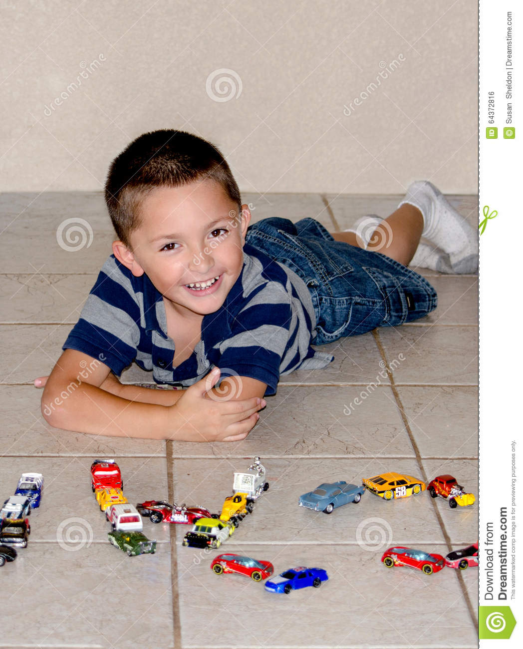 Happy Boy And Toy Cars Stock Photo Image Of Hispanic 64372816