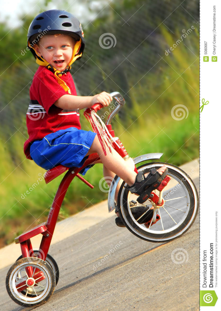 Happy Boy on Tricycle