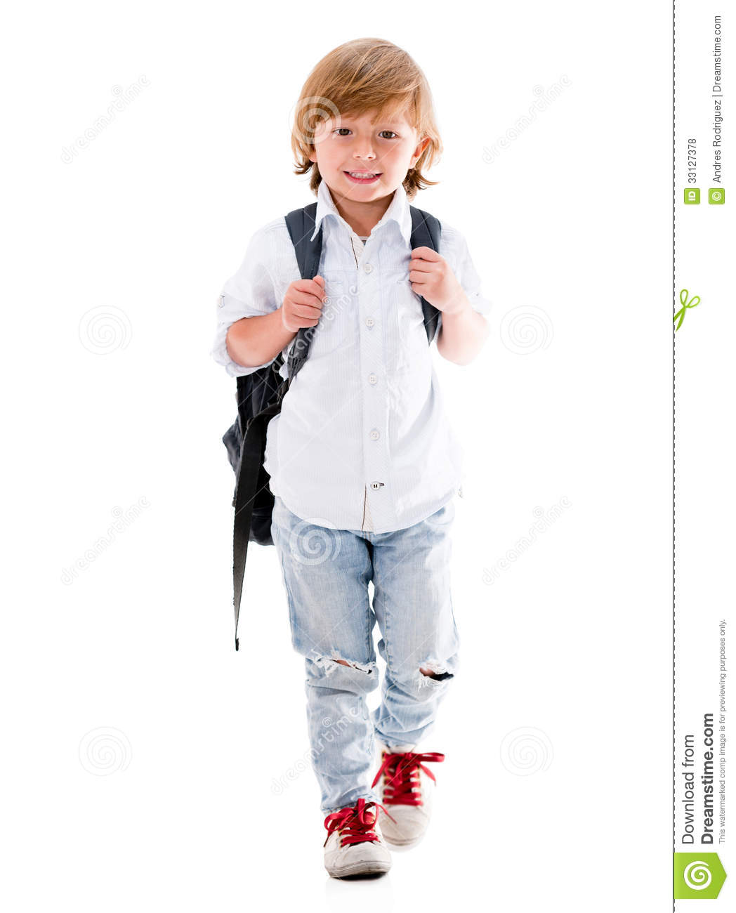 Happy Boy Walking To School Royalty Free Stock Photos