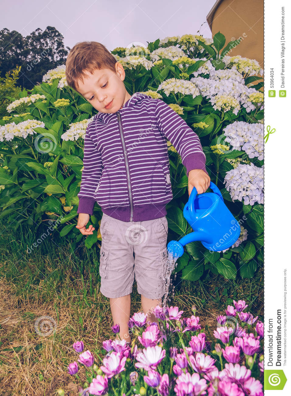 Portrait of happy cute boy watering flowers in the garden with a blue