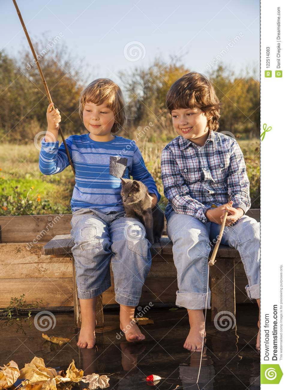 Download Happy Boys Go Fishing On The River, Two Children Of The Fisher W Stock Image - Image of people, nature: 122514083