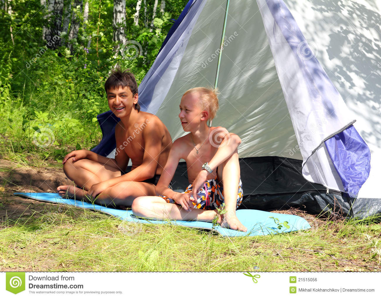 Happy boys near c&ing tent  sc 1 st  Dreamstime.com & Happy Boys Near Camping Tent Stock Photo - Image of camping camp ...