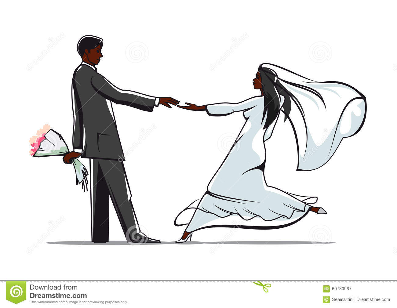 Happy Bride And Groom Joining Hands Stock Vector Illustration Of