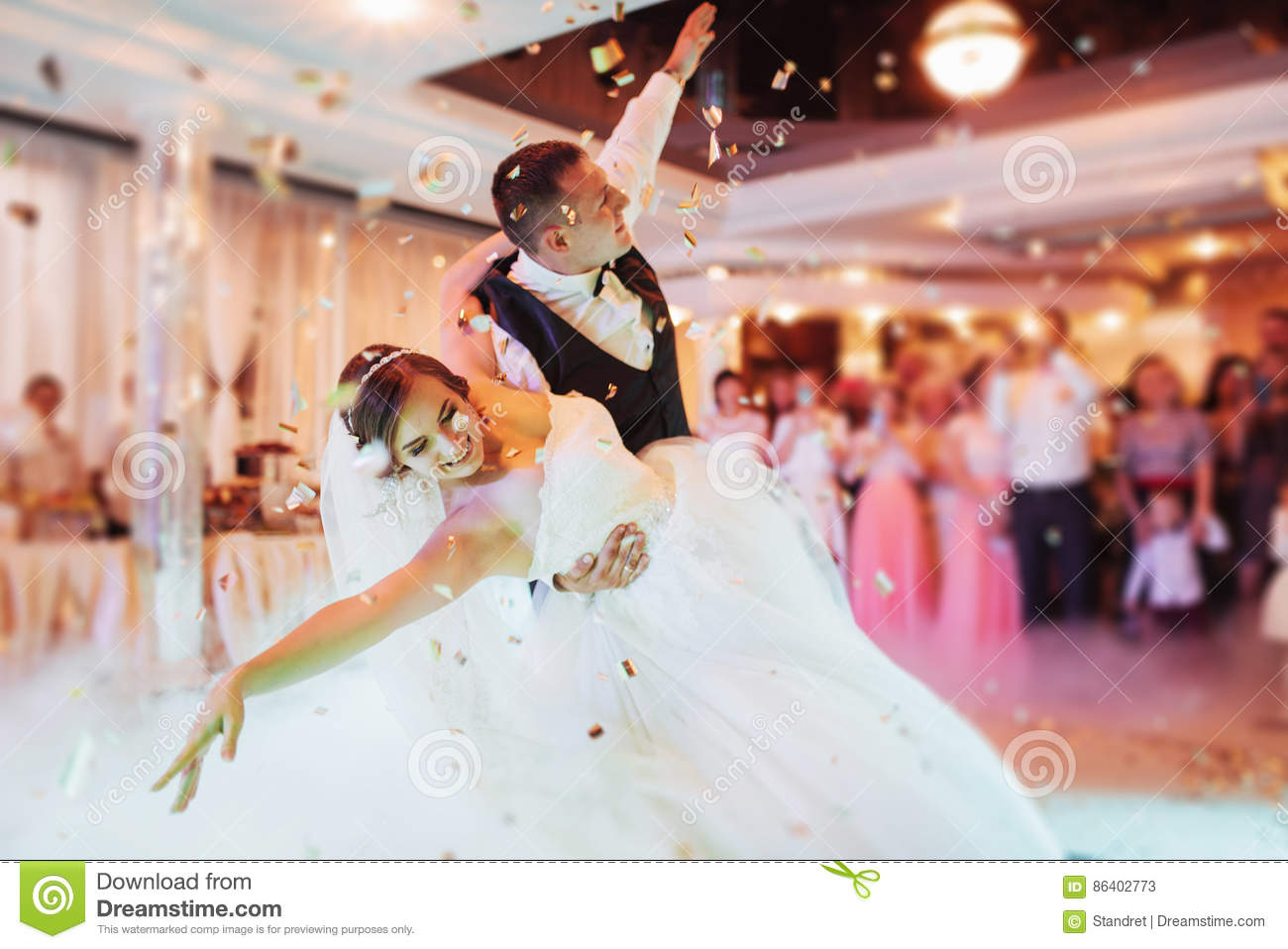 Download Happy Bride And Groom Their First Dance Stock Image - Image of cheerful, cute: 86402773