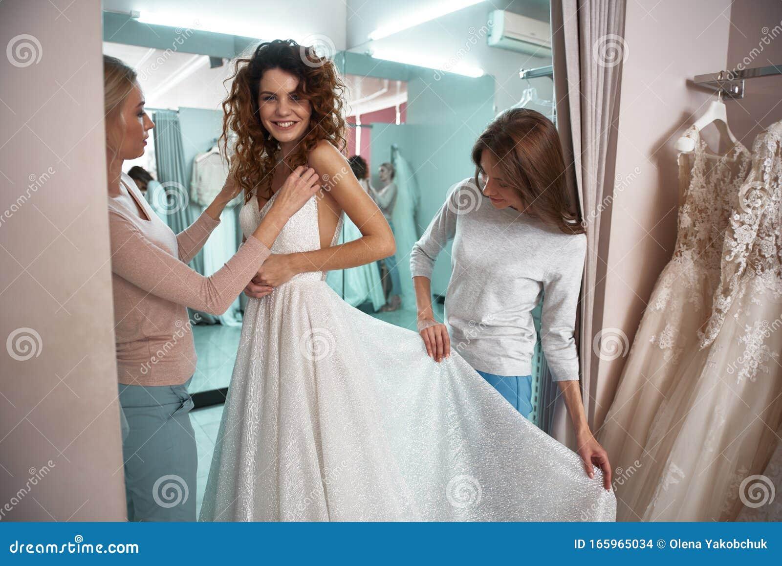 Happy Bride Trying On Dress In Wedding Salon Stock Photo Image Of Cloth Room 165965034,Beach Flowy Sleeveless Beach Flowy Wedding Dresses