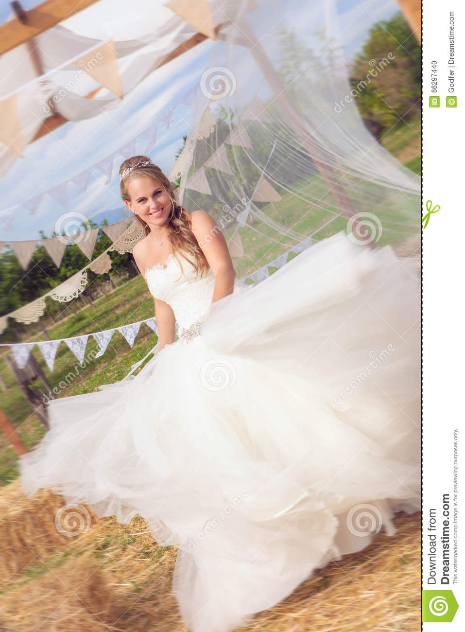 Happy Bride Twirling In Wedding Dress Stock Photo Image
