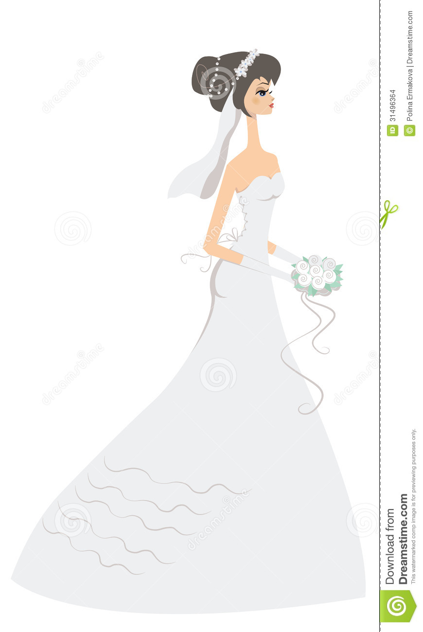 Happy bride stock vector image of illustration pearls Wedding dress illustration