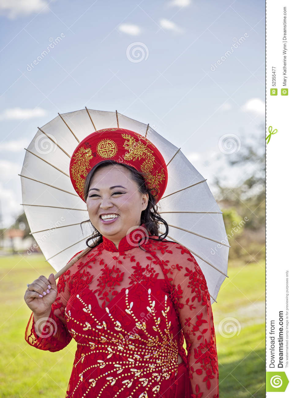 Happy Bride Wearing Vietnamese Ao Dai Stock Image - Image of details ...