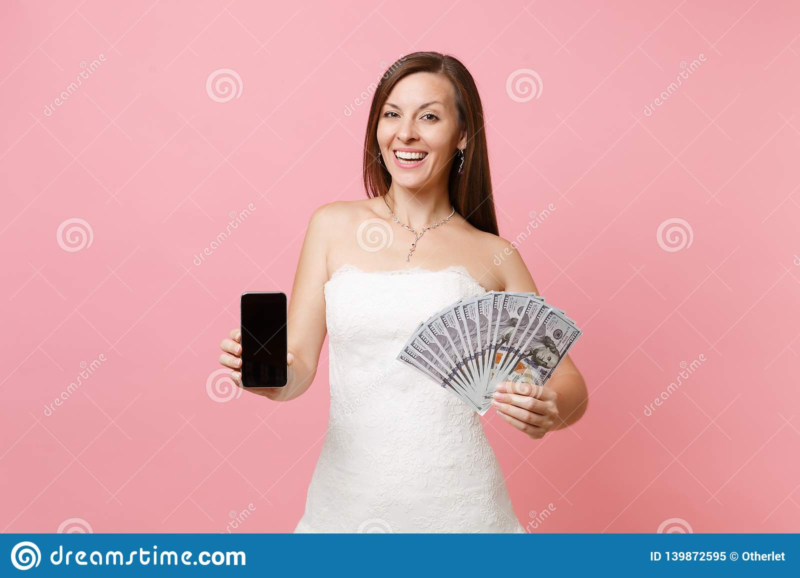 Happy Bride Woman In Wedding Dress Holding Bundle Lots Of Dollars