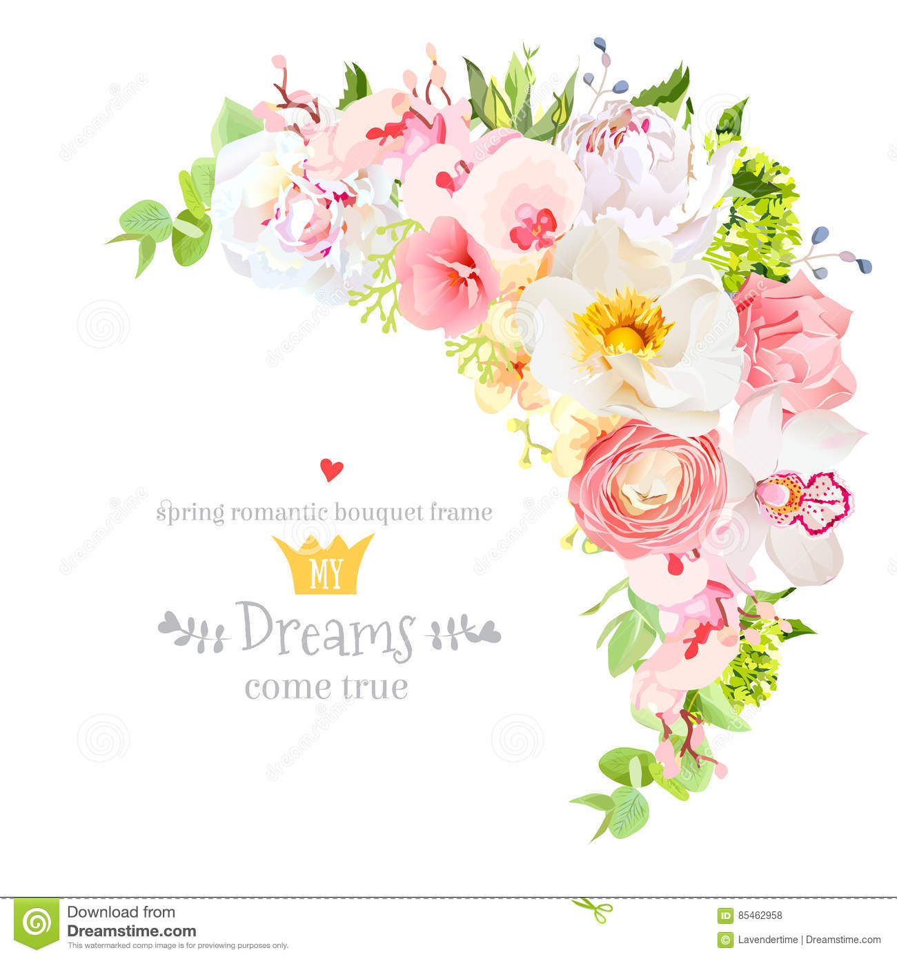 Happy Bright Floral Vector Frame With Spring Flowers Stock Vector