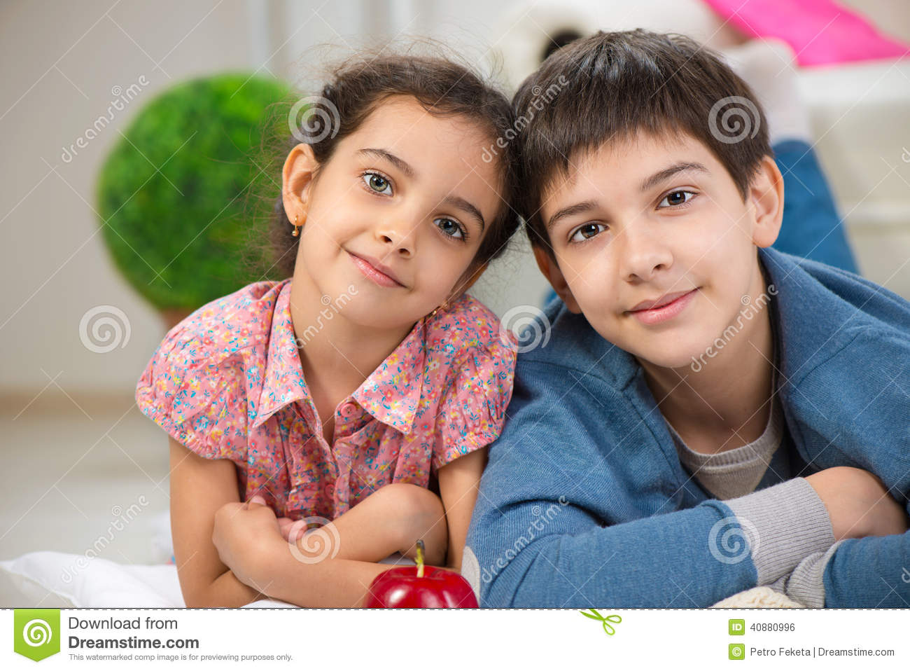 Happy Brother And Sister At Home Stock Photo Image Of Children