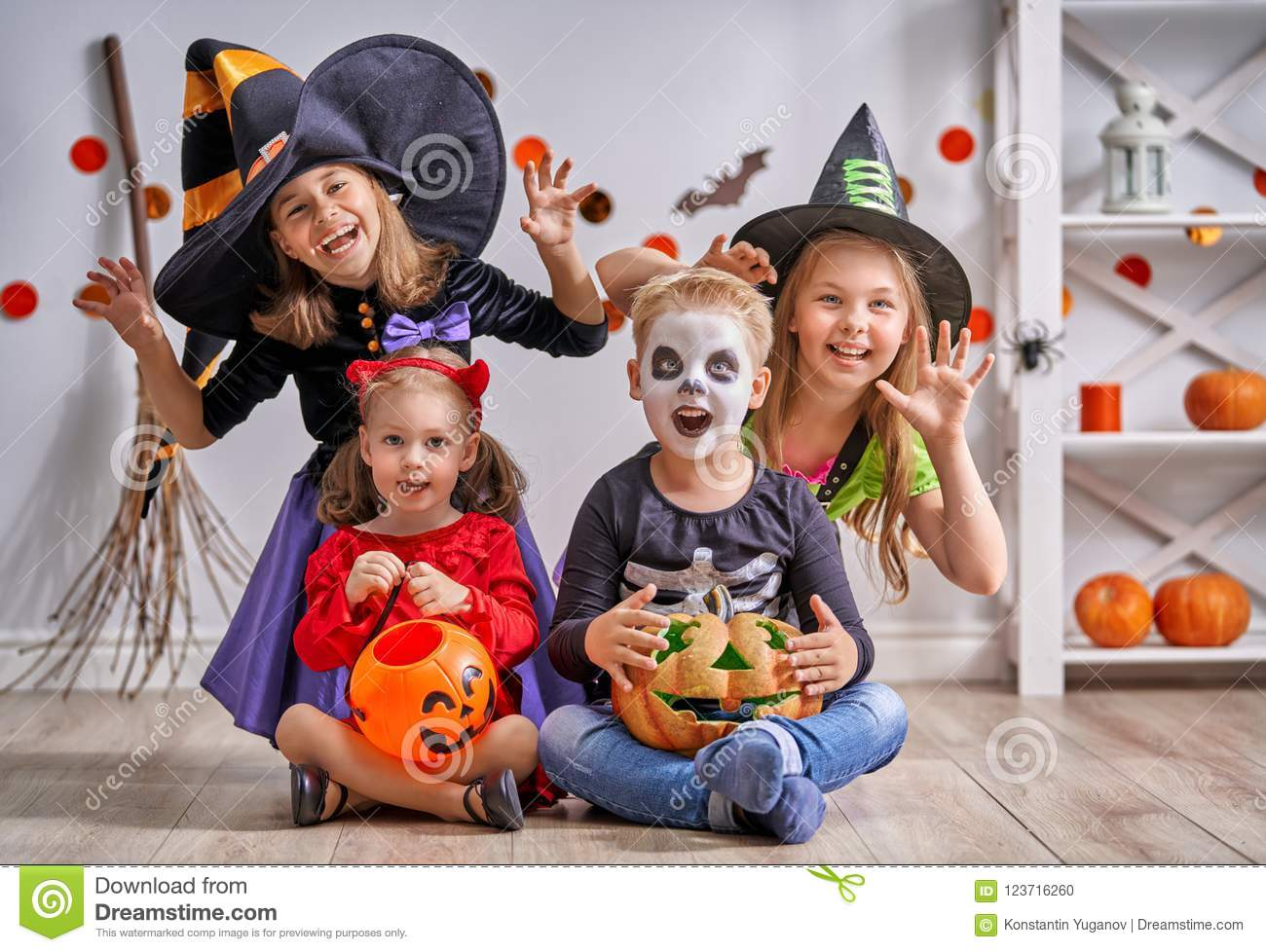 Halloween Costume Ideas For Three Sisters Cartoonview Co Source Children On Stock Photo Image Of Carnival 123716260