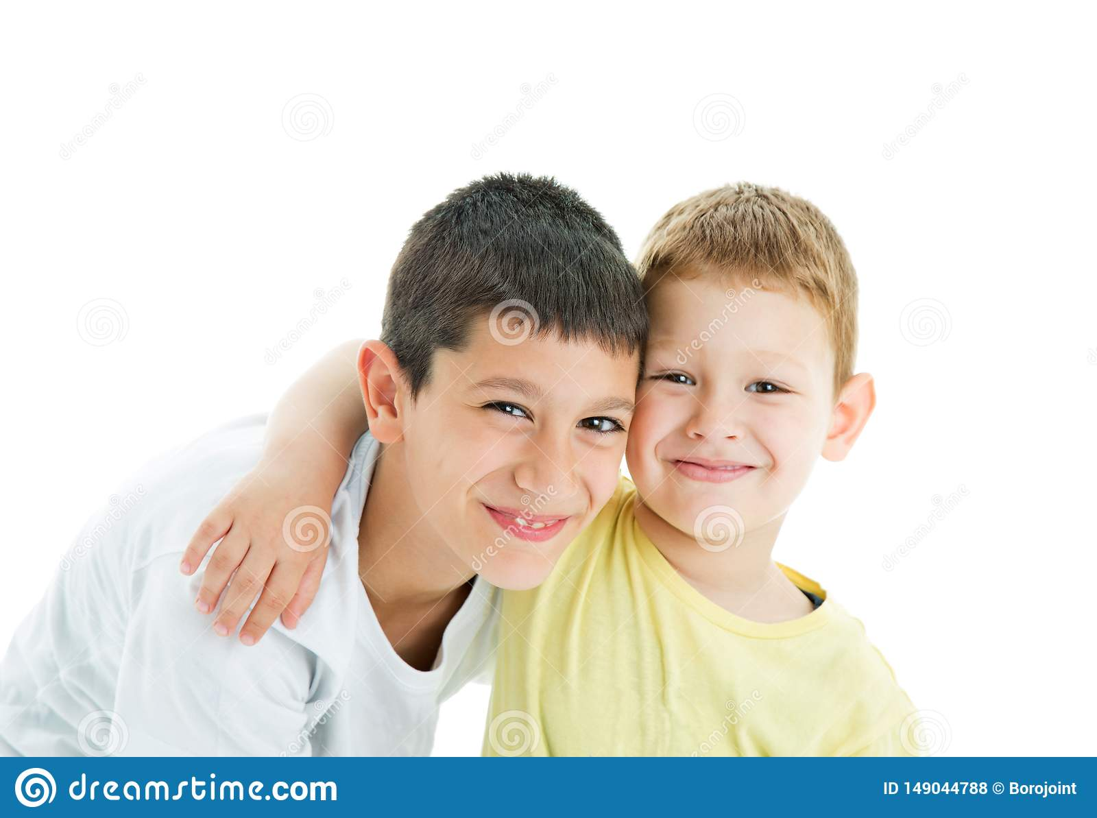 Happy brothers on white