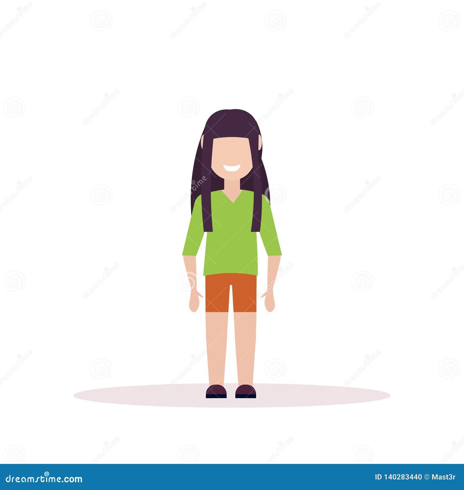 Happy Brunette Girl Standing Pose Little Child Female Cartoon