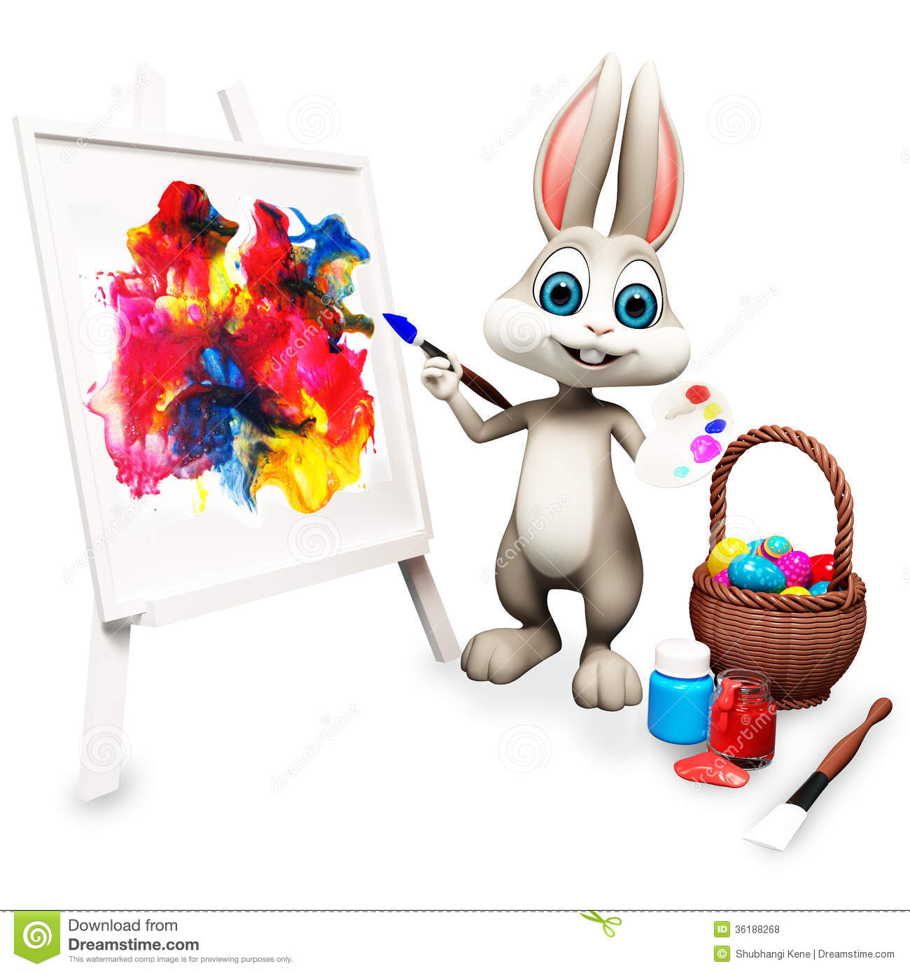 Happy bunny is painting