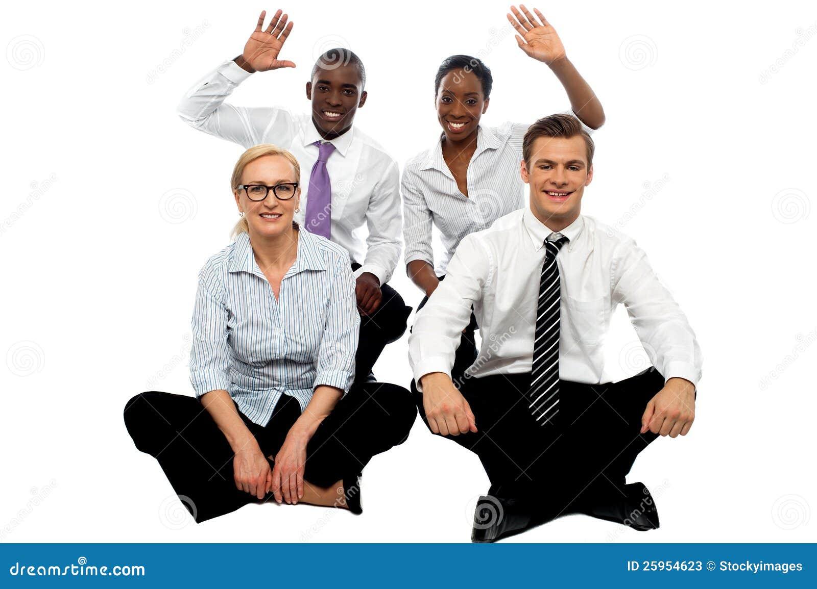Happy business group demonstrating partnership stock photos image