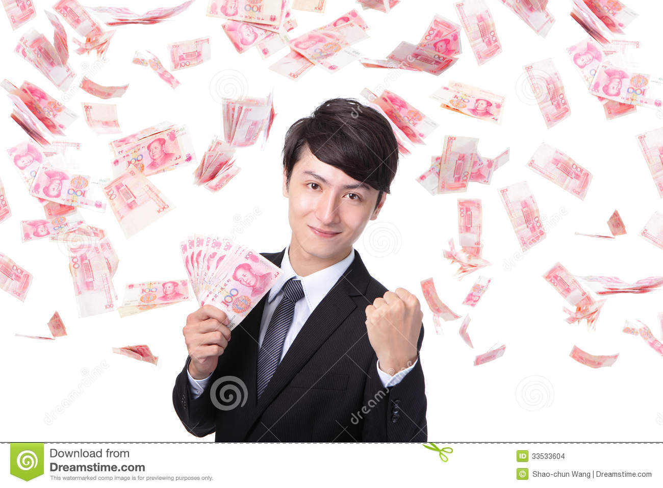 Happy Business Man Hold China Money Stock Photo - Image ...