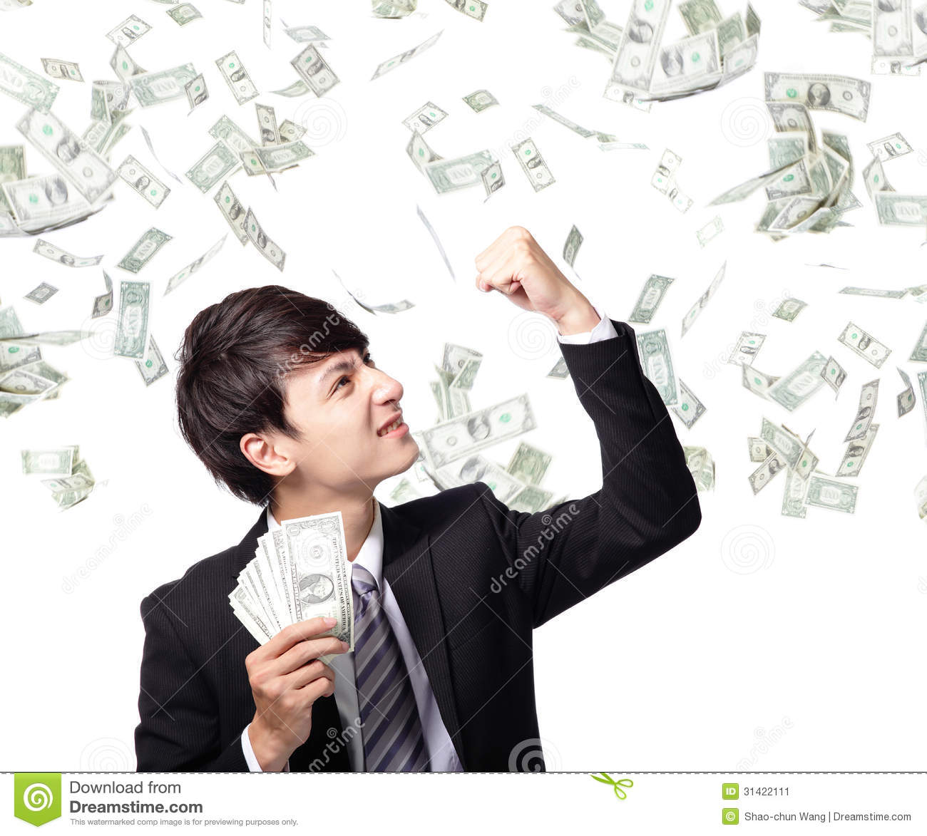 Happy Business Man With Us Money Stock Image - Image of ...