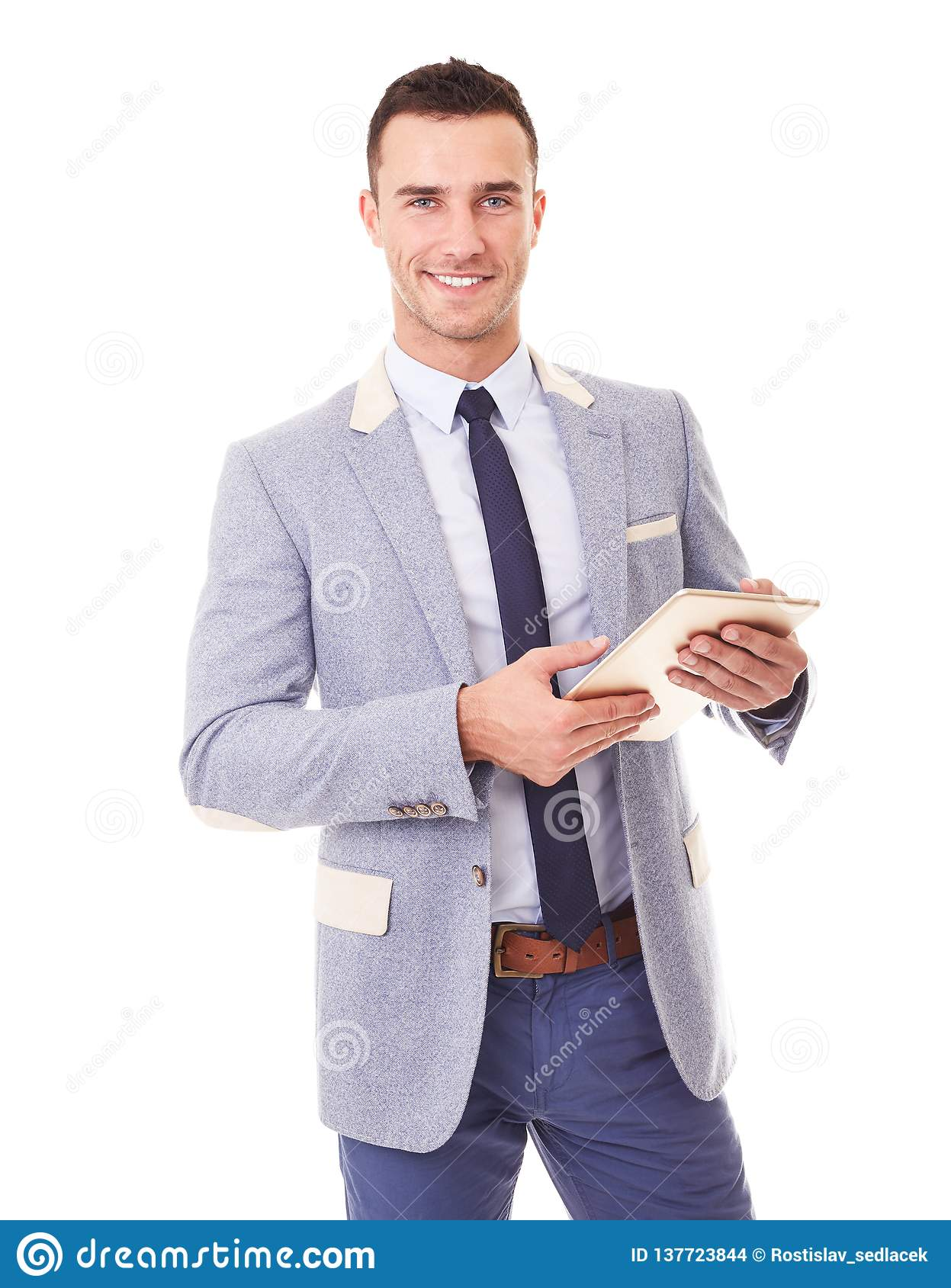 Happy business man using tablet pc