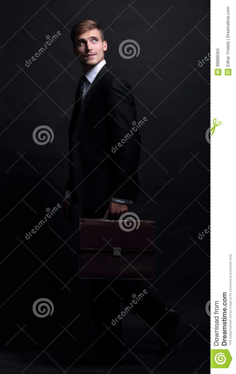 f8418927b8 Happy Business Man Wearing Black Suit Isolated On White Backgrou ...