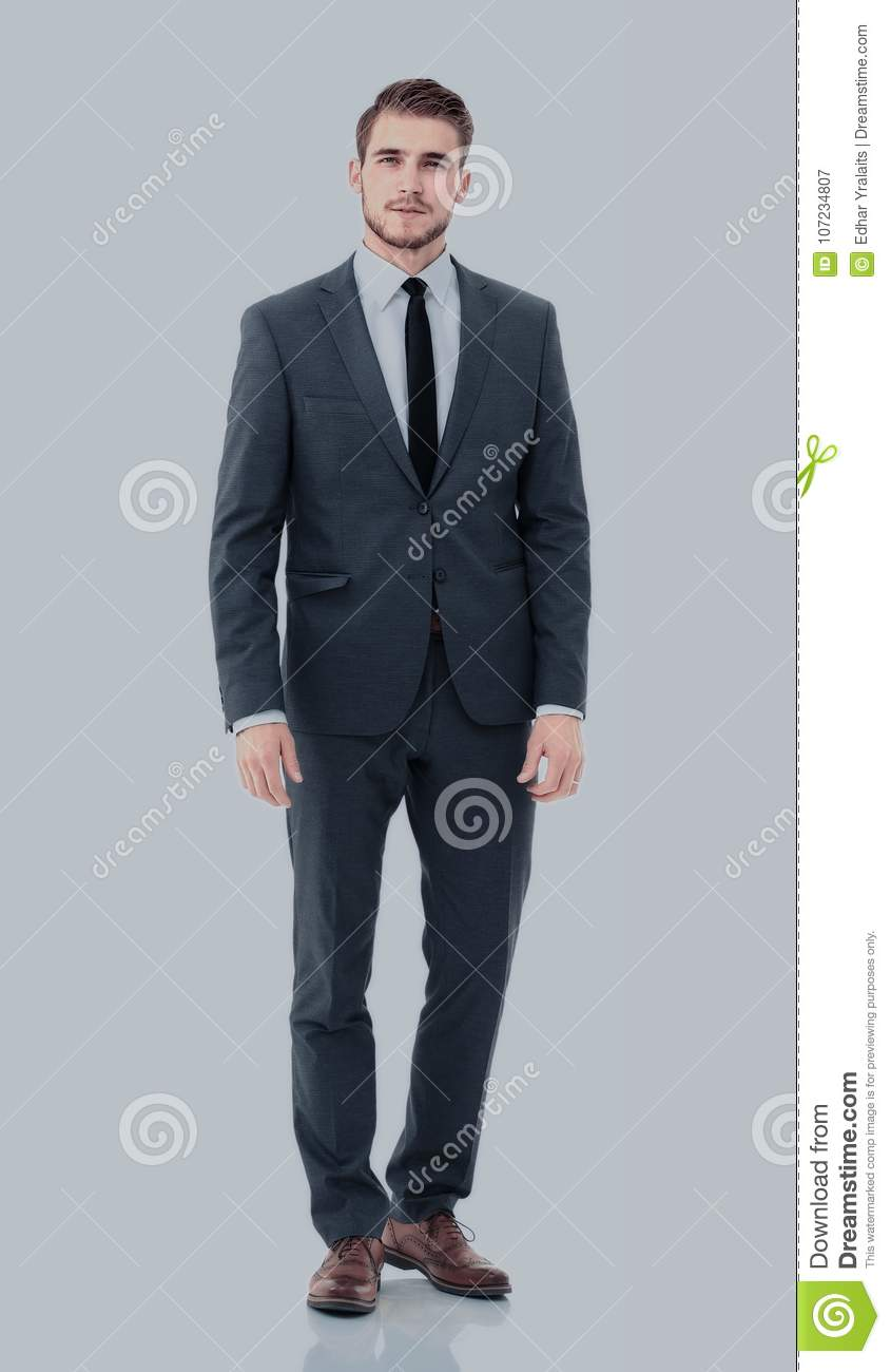 Happy Business Man Wearing Grey Suit Standing And Folding Arms Stock ...