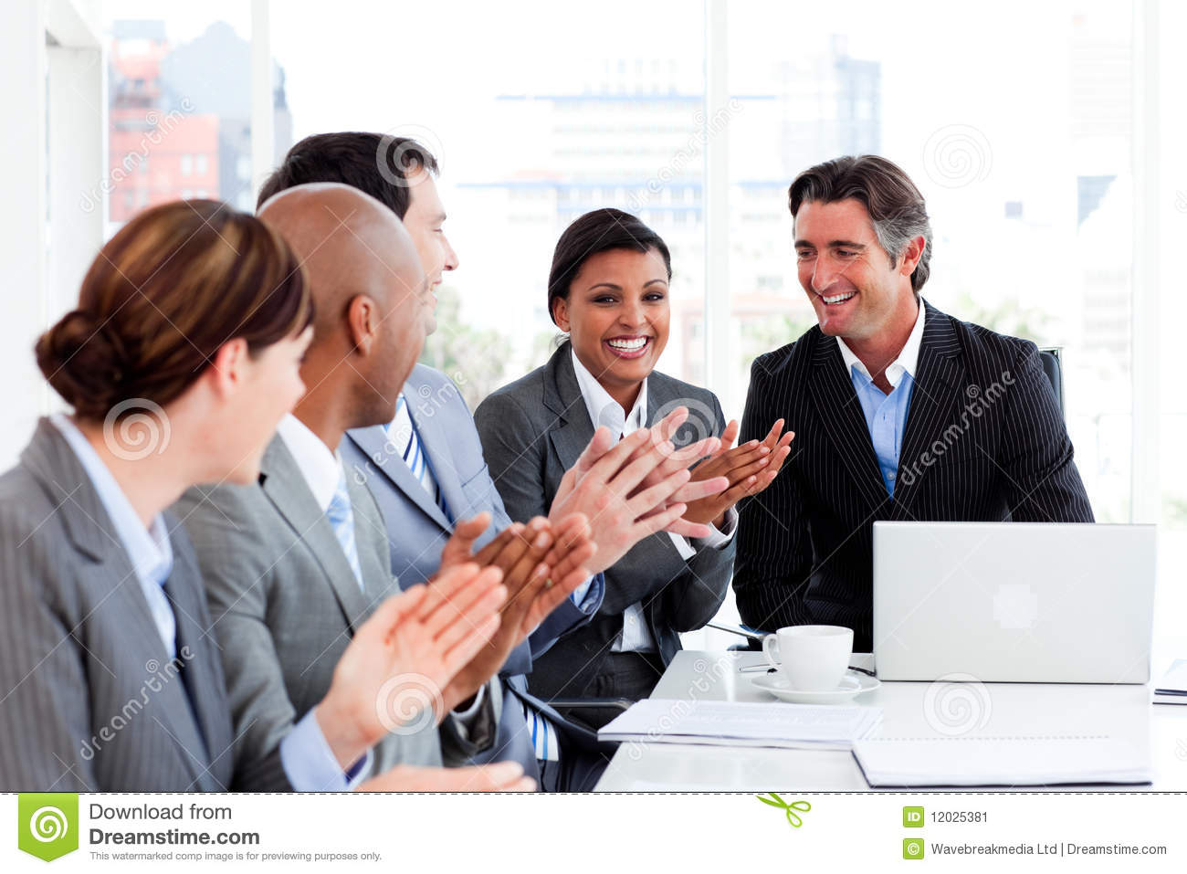 Happy Business People Clapping In A Meeting Stock Image ...