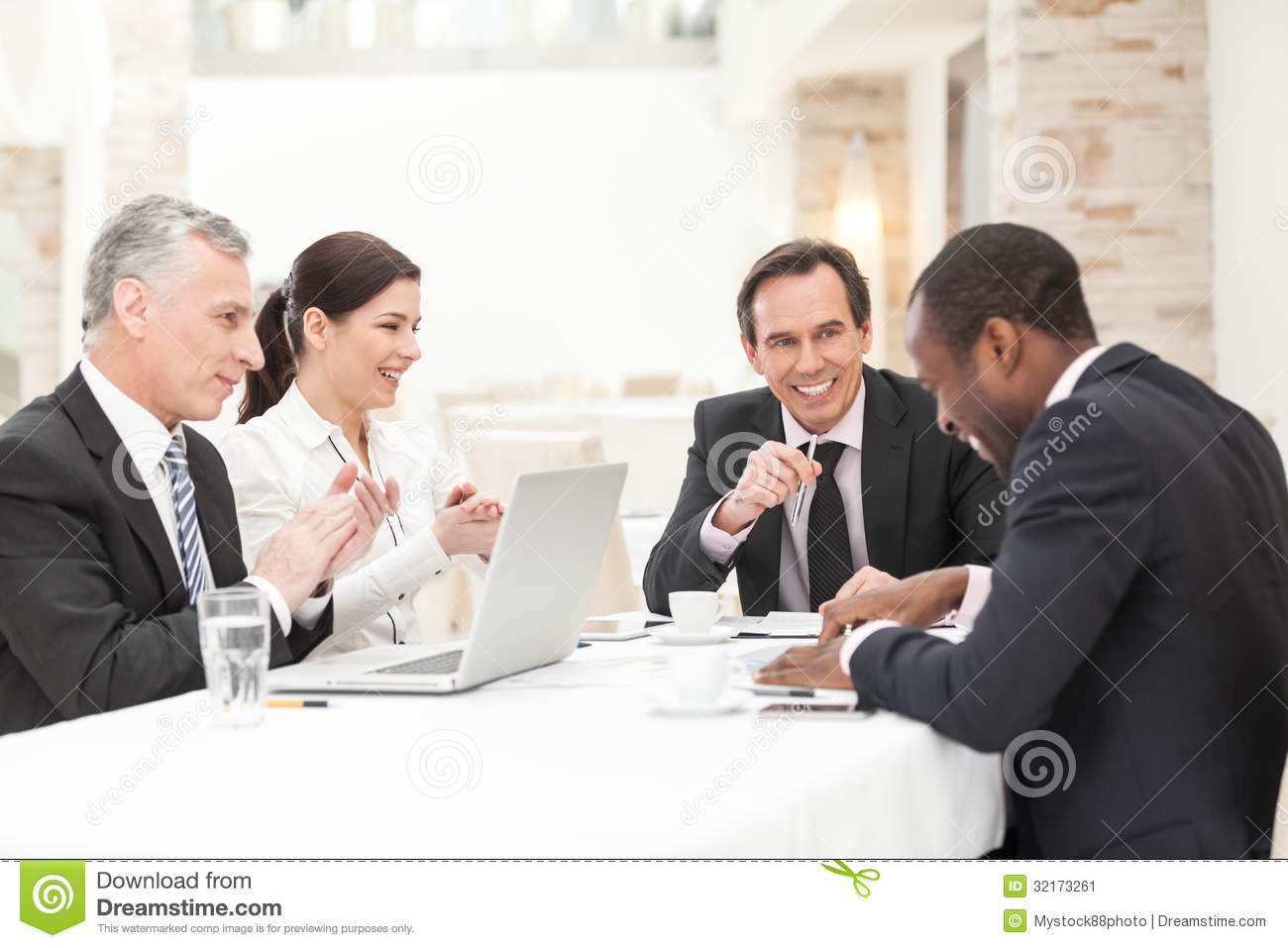 Happy Business People In Meeting Stock Image Image 32173261