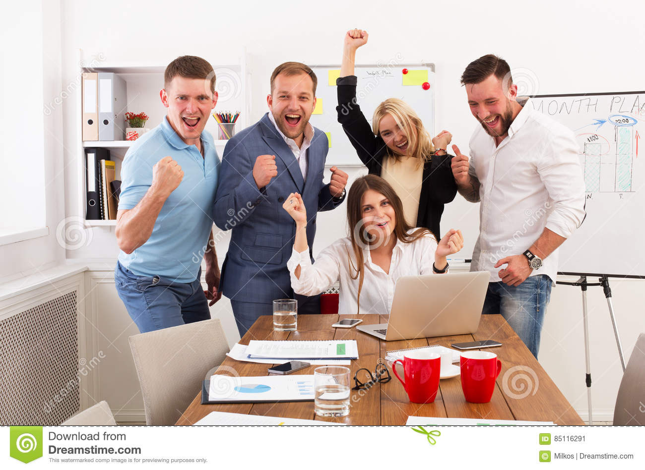 Happy Business People Team Celebrate Success In The Office Stock Image Image Of Applications Corporate 85116291