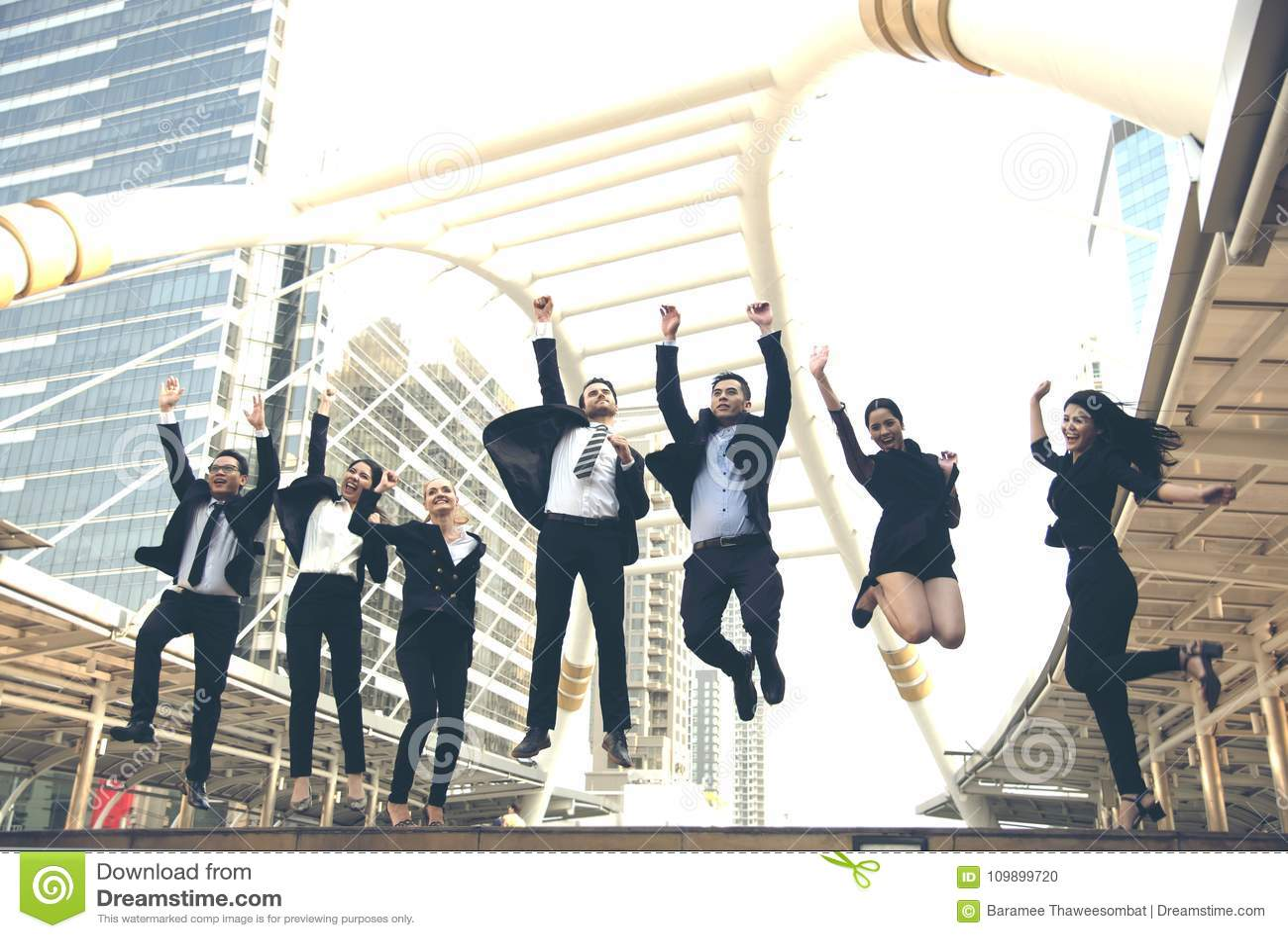 Happy business teamwork group jump up. concept celebration