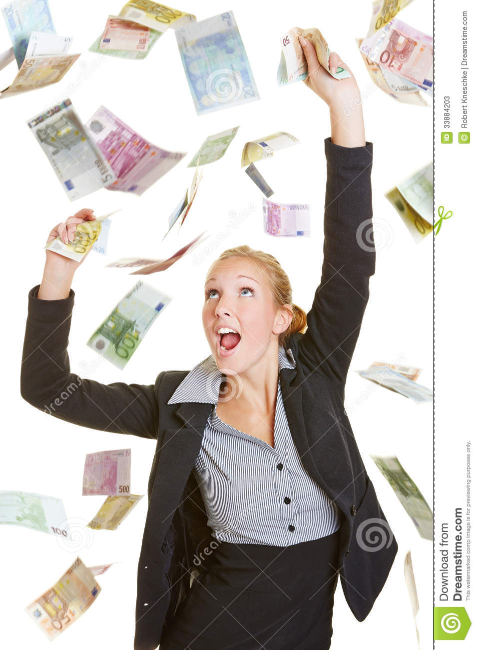 Happy Business Woman Catching Many Euro Bills Stock Image ...