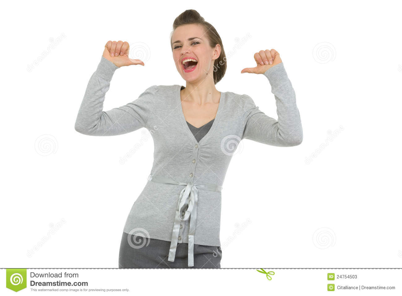 happy business woman pointing on herself stock image image of
