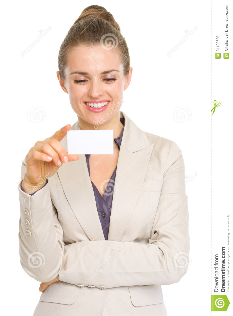 Happy Business Woman Reading Business Card Stock Image - Image of ...