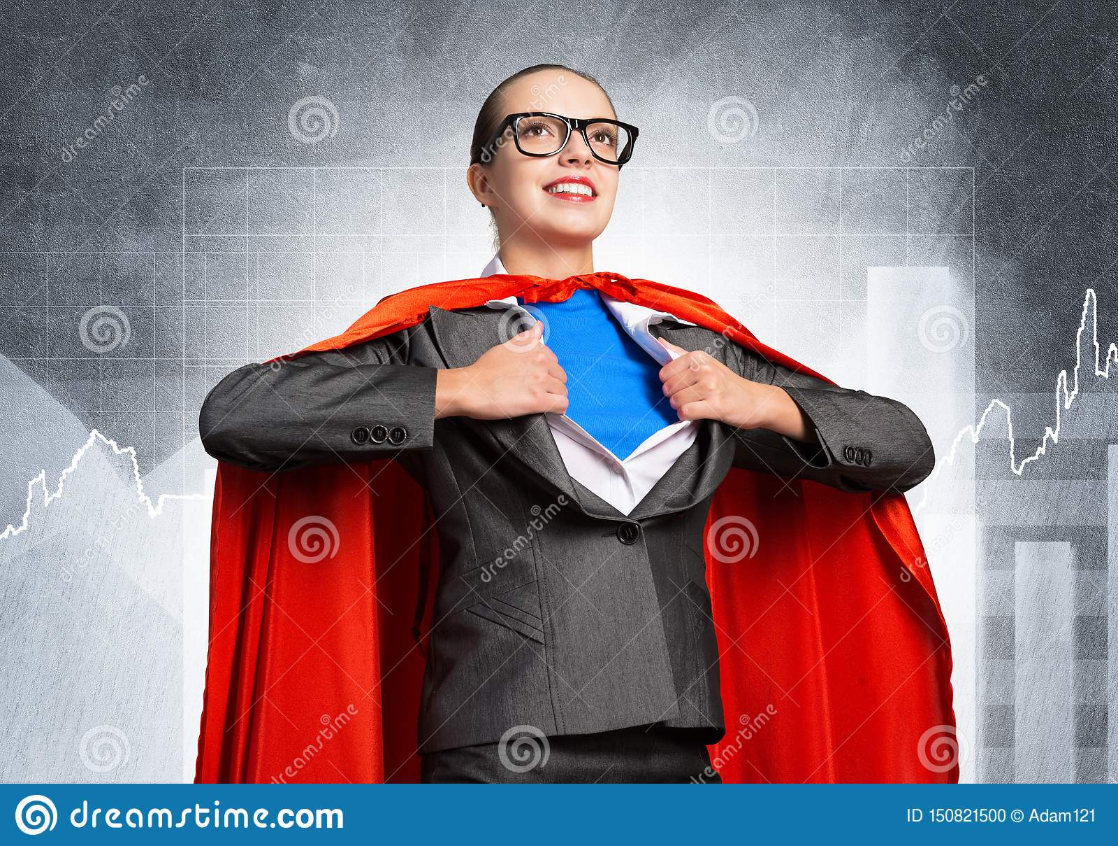Happy business woman super heroine