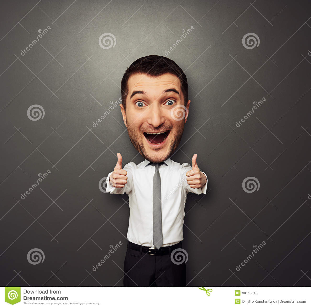 Happy Businessman With Big Head Laughing Stock Photo ...