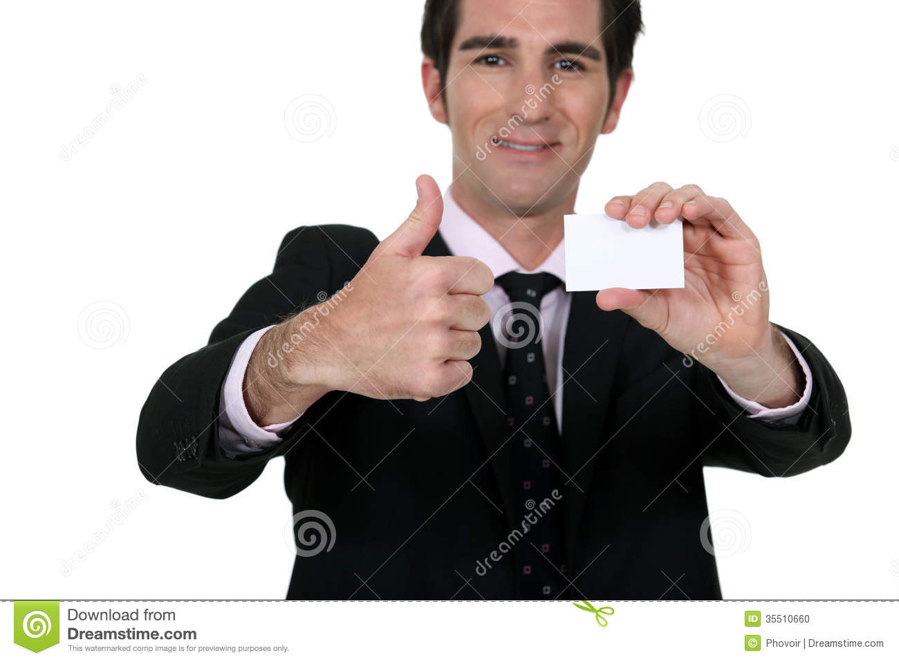 Happy Businessman With Card Stock Image