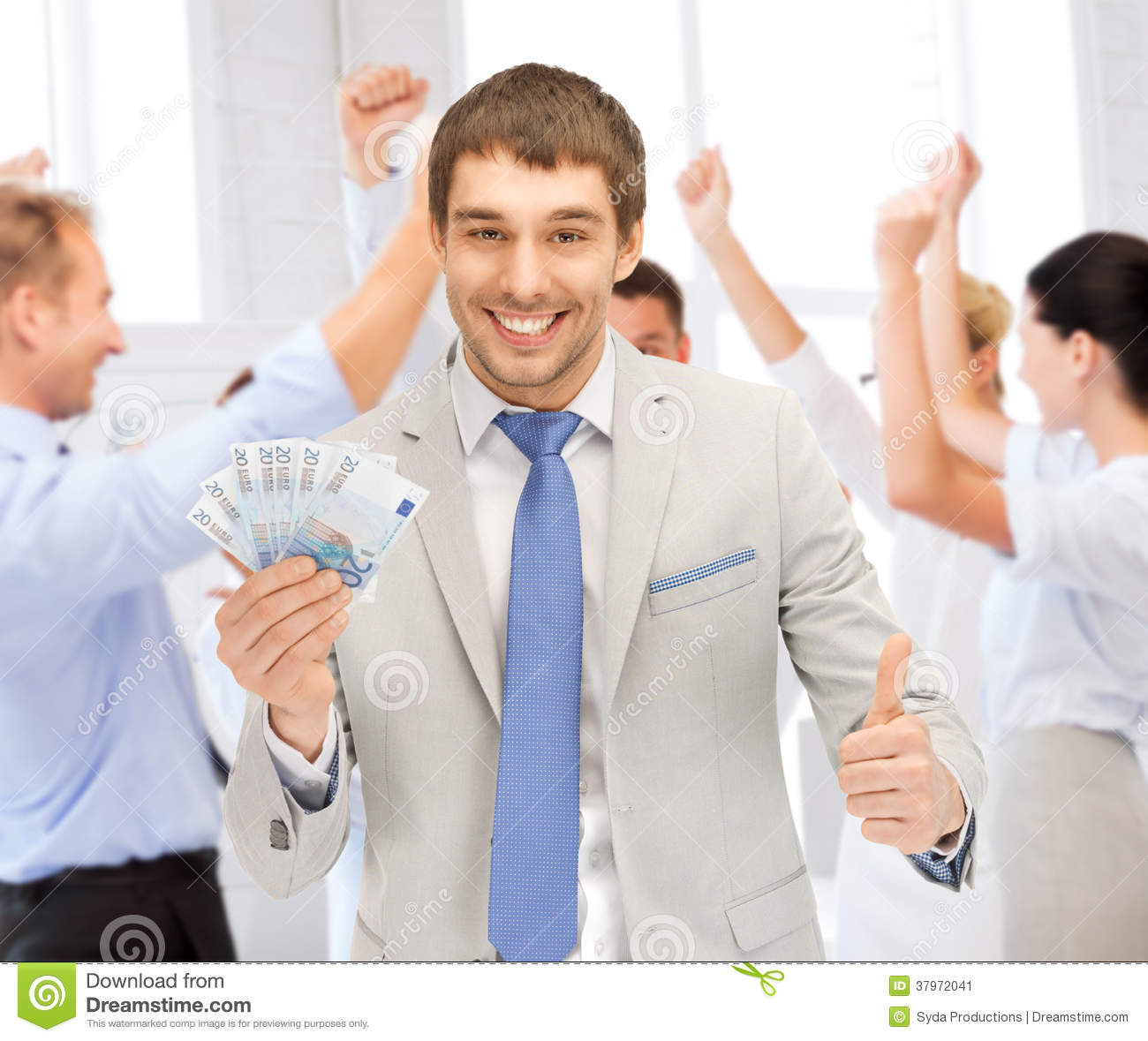 Happy Businessman With Cash Money In Office Stock Image ...