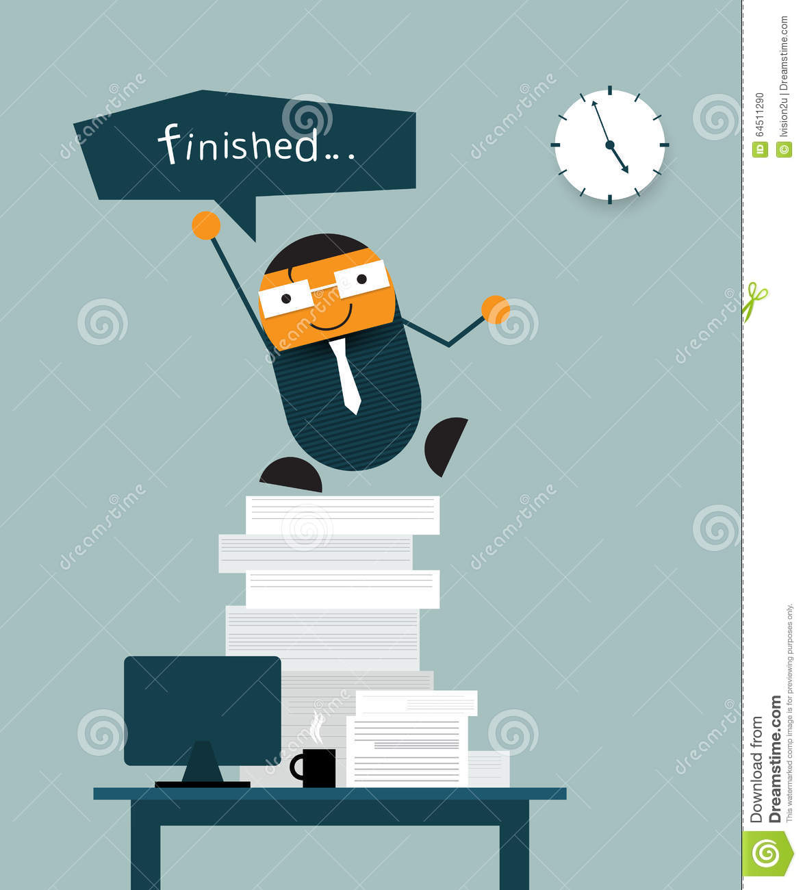 Happy Businessman Finish His Work On Time Stock Vector - Image ...