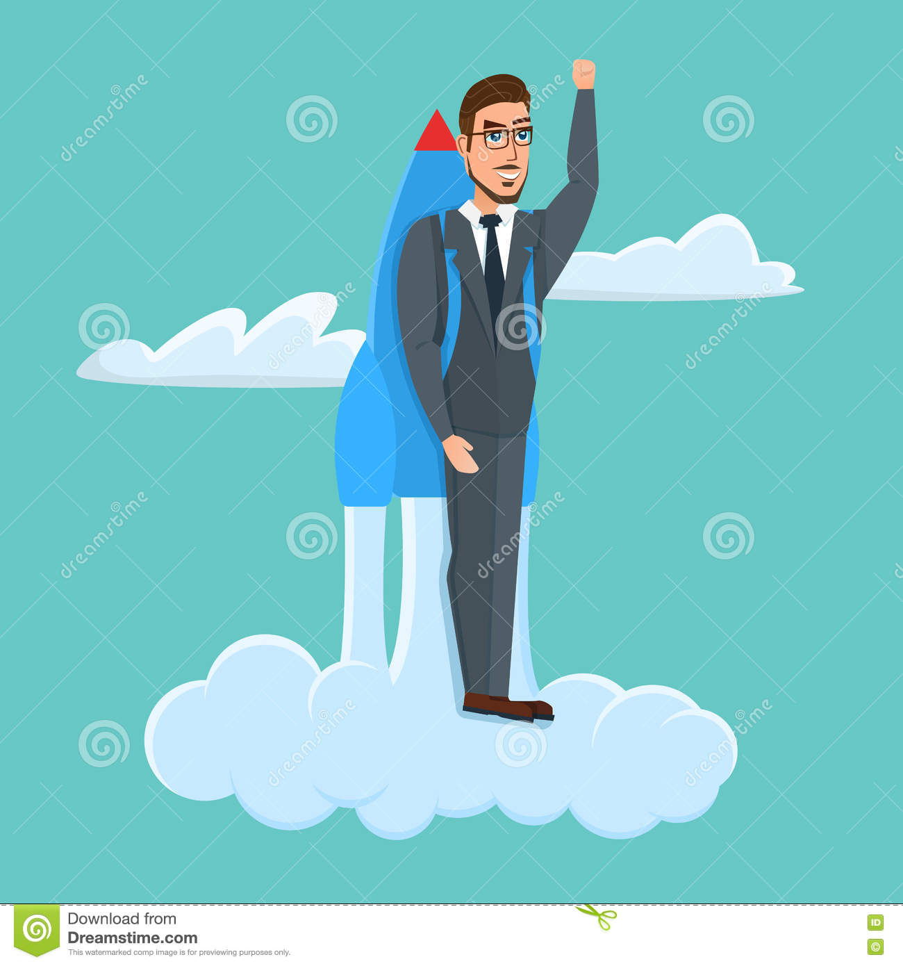 b6539f1e105 Happy Businessman Flying With Rocket Backpack. Business Cartoon ...
