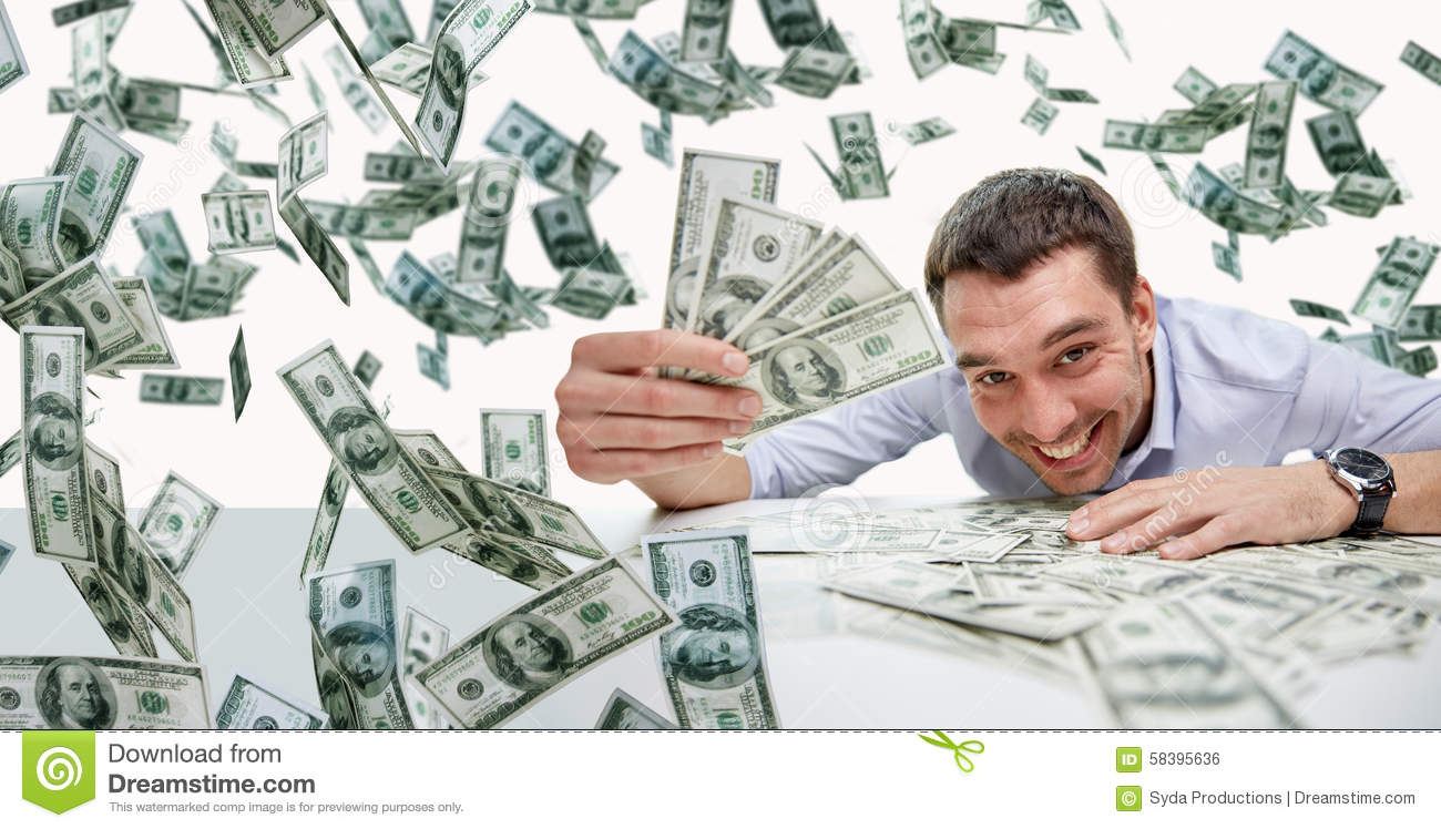 Happy Businessman With Heap Of Money Stock Illustration ...