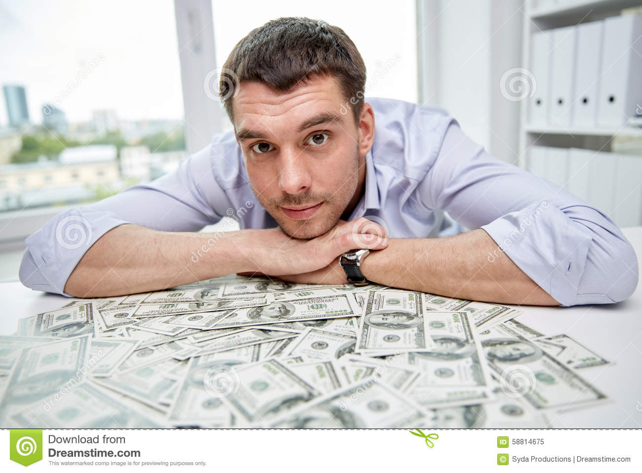 Happy Businessman With Heap Of Money In Office Stock Image ...